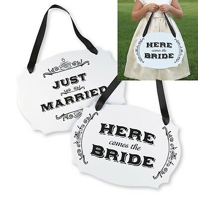 Here Comes the Bride Just Married Sign Two Sided Wedding Ceremony Flowergirl