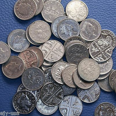 Great Britain UK 5 Pence 5p Mixed Dates Lot of 50 Coins Decimal Legal Tender