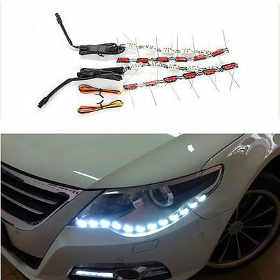 2x50cm Auto Fari LED Strip Switchback flessibile Angel Eyes DRL Bianco/Arancione