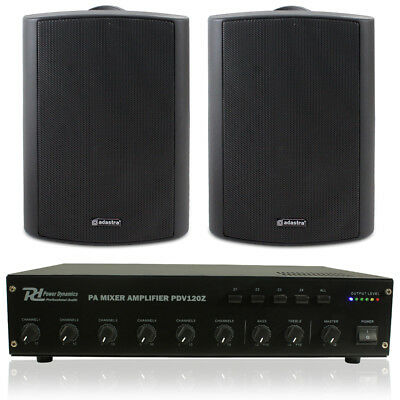 2x Outdoor Indoor Office Shop Commercial PA System Speakers 100V Line Amplifier