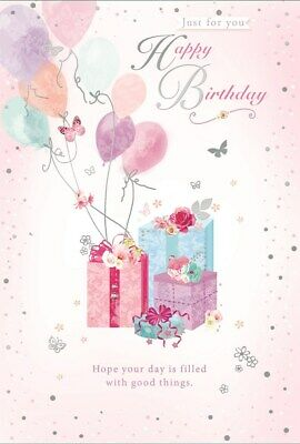 "Open Female Birthday Card - Presents, Balloons, Roses & Butterfly 7.75"" x 5.25"""