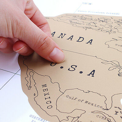 Cool Scratch Off World Map Poster Personalized Travel Vacation Personal Log Gift