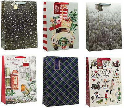 Set of 6 Extra Large Traditional Christmas Gift Bags Rope Handle & Tag 12.5x17""