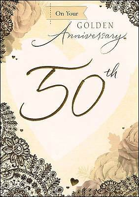 "Golden 50th Wedding Anniversary Greetings Card - Gold Foil Roses 7.5"" x 5.25"""