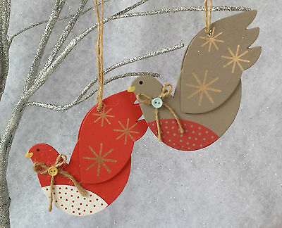 2 x Gisela Graham Peace Doves Christmas decoration Red Grey Painted Wood Vintage