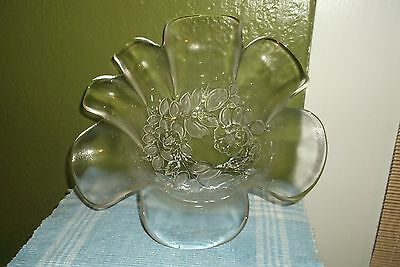 Mikasa Clear Glass Serving Bowl With Frosted Floral Design Petal Rim Very Nice