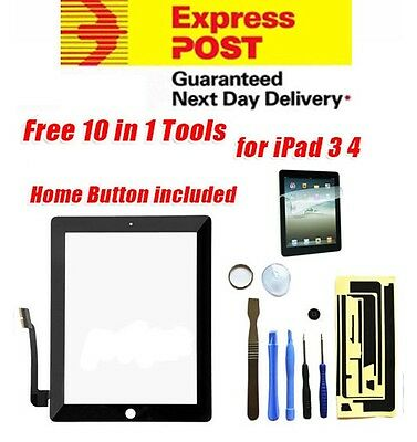 Apple iPad 3 4 Black Digitizer Front Glass Touch Screen Lens Replacement Screen
