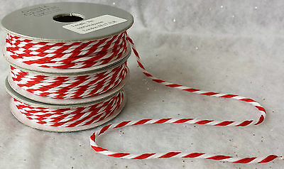 3m Roll Red & White Christmas Candy Stripe String Cord Gift Wrap Vitntage Retro