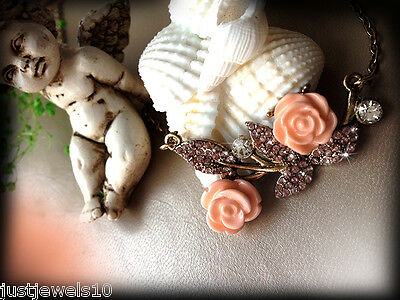 Necklace Dusty Pink white crystals Peach Rose Set Shabby chic style Gift her N1