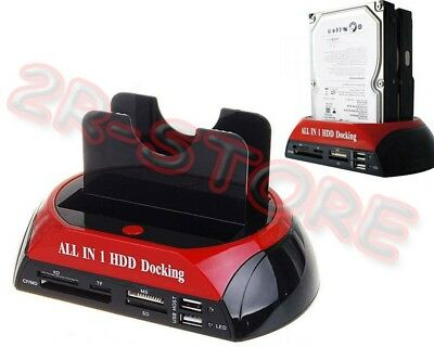 "Hd Docking Station Hard Disk Sata Ide 2,5"" 3,5"" Usb Lettore Sd Case Box"