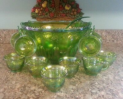 Indiana Carnival Glass Princess Punch Bowl Set Lime Green Harvest Grape