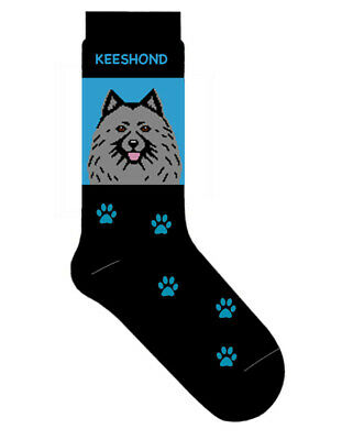 Keeshond Socks Lightweight Cotton Crew Stretch Egyptian Made