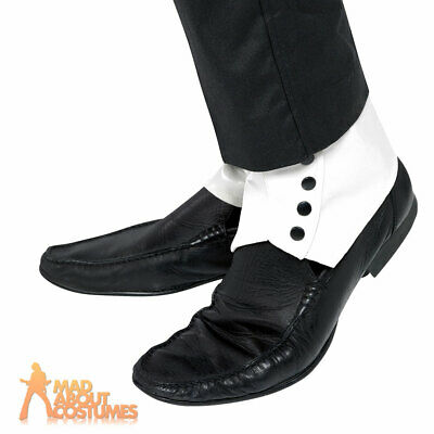 White Spats Gangster Mobster 20s Mafia Capone Fancy Dress Shoe Accessory New