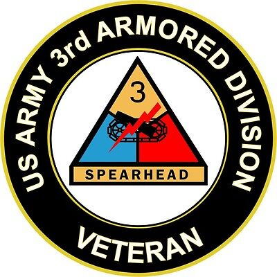 "Army 3rd Armored Division Veteran 3.8"" Sticker 'Officially Licensed'"