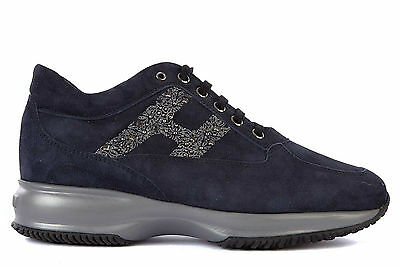 HOGAN SCARPE SNEAKERS DONNA CAMOSCIO NUOVE INTERACTIVE BLU SHOES TRAINERS WO 7B1