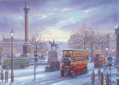 London Bus Taxi Trafalgar Square Nelsons Column Transport Christmas Xmas Card