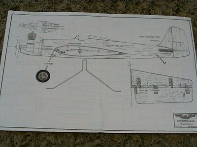 """1/2 A ZILCH Model airplane plan 26"""" wing  Full sized plans"""