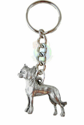 Chinese Crested Dog Fine Pewter Silver Keychain Key Chain Ring