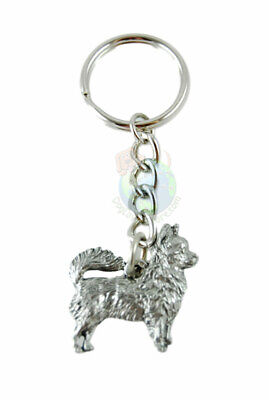 Chihuahua Dog Fine Pewter Silver Keychain Key Chain Ring Longhair