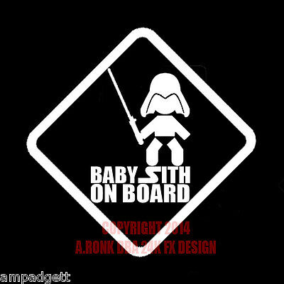 Baby Sith on Board Star Wars Vinyl Decal Baby Darth Vader with  Light Saber