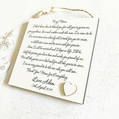 Mother of The Groom Gift, Wedding Thank You Personalised Plaque from Groom W117