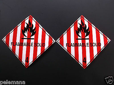 """2 (Two Labels) FLAMMABLE SOLID Red/White 4"""" x 4"""" Self Adhesive Paper Sticker NEW"""
