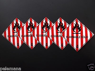 "5 -Five labels FLAMMABLE SOLID Red/White 4"" x 4"" Self Adhesive Paper Sticker NEW"