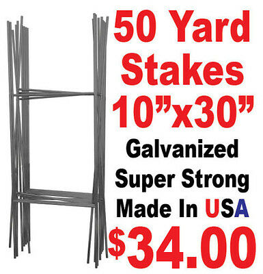 """50 Full Size """"H"""" Wire Step Stakes - Yard Sign Wire Stands - Political Campaigns"""