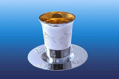 Pack of 5 Silver Look Plastic 'KIDDUSH CUPS & TRAYS' ~ ~ ~ judaica jewish goblet