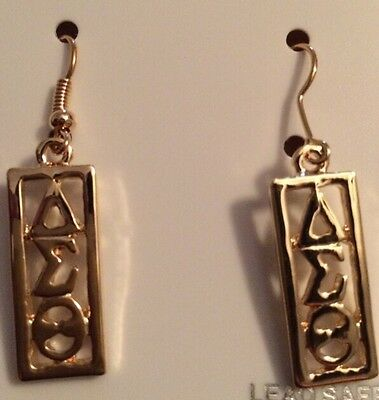 Gold Delta Sigma Theta Sority Earrings Rectangle Hanging Dangling DST