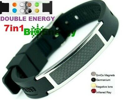 Silicone Magnetic Energy Germanium  Power Bracelet Health 7in1 Bio Armband BAND