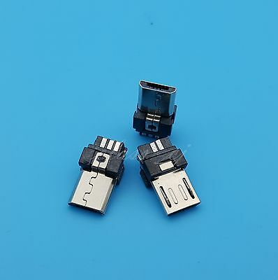 50Pcs Micro USB Type B Male 5Pin Wire Solder Plug Connector