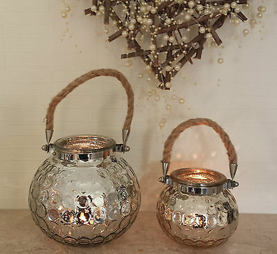 Silver Glass Rope Handle Lantern T Light Tea Candle Vintage Holder Christmas