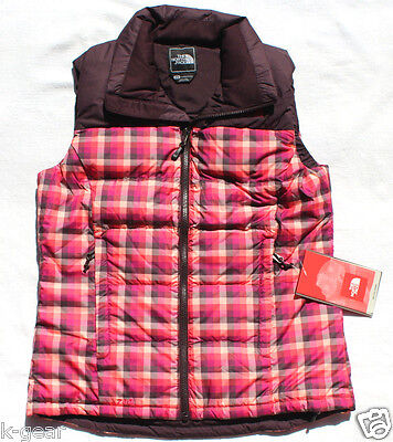 THE NORTH FACE Novelty Nuptse Down Womens Vest 700 Fill Baroque Purple Plaid NEW