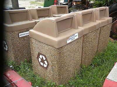 2 Wausautile Concrete Garbage Containers 3 On 1