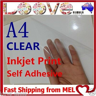 50x A4 Transparent Clear Glossy Self Adhesive Sticker Paper Label Inkjet Print