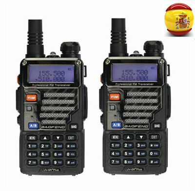 2×BaoFeng *UV-5R Plus* 136-174/400-520 Radio Emisora Transceptor Walkie Talkie
