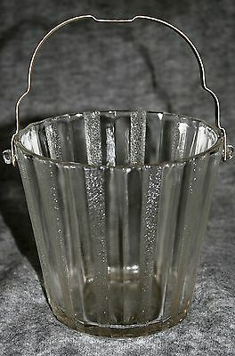 Vintage Heller Ice Bucket Metal Handle Ribbed Sides Alternate Frosted & Clear