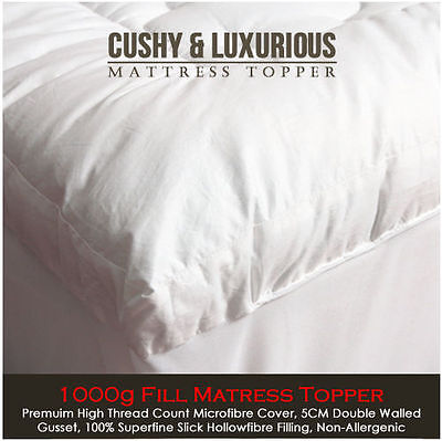 New Luxury 1000g Deep Microfibre Mattress Topper- Single Double King Superking