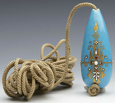 RARE ANTIQUE FRENCH SEVRES JEWELED BLEU CELESTE GROUND BELL PULL 18/19TH C.