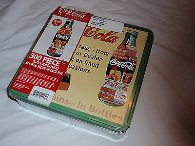 NEW IN BOX! / Coca Cola 500 Piece Jigsaw Puzzle Bottle Shaped / Collectible Tin