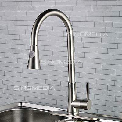 New Pull-out Pullout Spray Kitchen Sink Faucet With Dispenser - Brushed Nickel