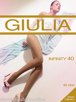 Giulia Infinity 40 Denier Tights - 1 Pair  Sheer To Waist  Sizes up to 5 XL