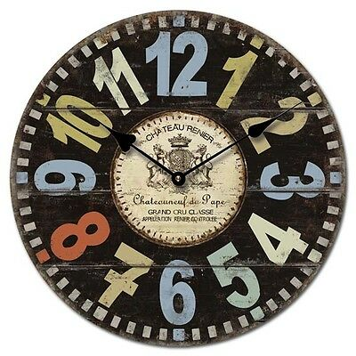 34cm Wall Clocks Shabby Vintage Chic Retro Bedroom Kitchen *Choose Your Design*