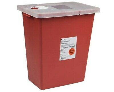 LOT OF 3! Multi-Purpose Sharps Container 8 Gallon Red Base Hinged Lid FREE S&H