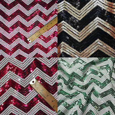 "CHEVRON SEQUIN FABRIC 55"" WIDE BY THE YARD"