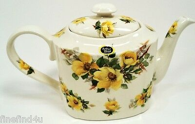 VINTAGE ARTHUR WOOD TEAPOT WITH LID ENGLAND , YELLOW BLOSSOMS