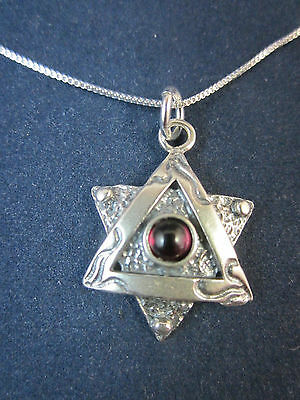 """Artisan Sterling Silver Star of David with Garnet Pendant Necklace 18"""" 925 Chain"""
