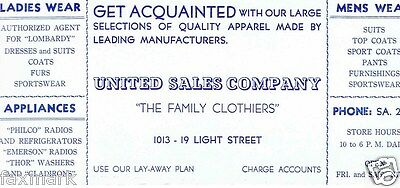"""""""United Sales Company"""" Family Clothiers 1940's Ink Blotter -- Baltimore, MD..."""