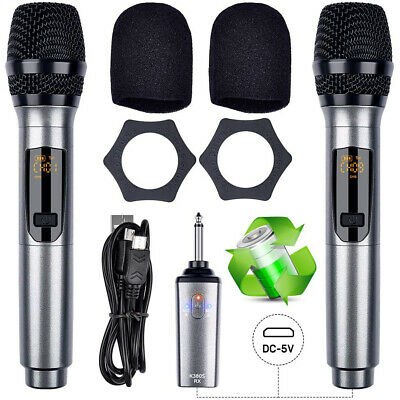 UHF Wireless Dual HandHeld Microphone System/LCD Display + Rechargeable Receiver